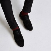 River Island Mens Black suede lace-up brogues (Size 45)