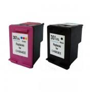 Printflow Compatível: Pack 2 Tinteiros Hp 301xl preto (CH563EE) + cor (ch564ee)