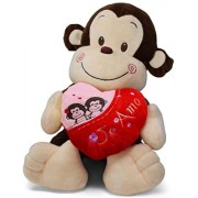 Red Oak Collections Spanish Mother's Day Stuffed 9 Monkey and Rose Petals Animal Holding A Heart | Dia De San Valentin Mono Sosteniendo El Corazon Que Dice Te Amo En Espanol Bundle
