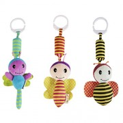 YeahiBaby 3pcs Bed Crib Cot Pram Stroller Pushchair Baby Hanging Toys Activity Rattle Doll Handbells Toys (Yellow+Blue+Red)
