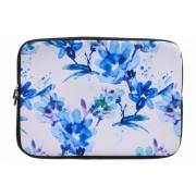 Universele blauwe bloemen watercolor design sleeve 15 inch