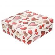 Merkloos Kerstboom cadeautje rood/wit doosje met hartjes 18 cm