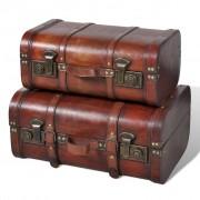 vidaXL Drewniane kufry vintage, brązowe, 2 szt.