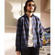 ROYAL PALM/RPユーズドライクブロックチェックシャツ【ナノ・ユニバース/nano・universe メンズ シャツ・ブラウス ネイビー ルミネ LUMINE】