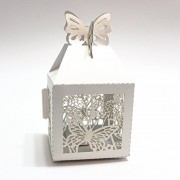 Imported 50pcs Butterfly Sweets Candy Gift Boxes Wedding Party Baby Shower Favor Wht