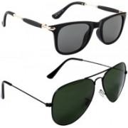 Poloport Wayfarer, Aviator Sunglasses(Black, Green)