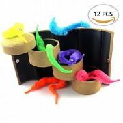 A Little Lemon 12pcs Magic Worm Toys Wiggly Twisty Fuzzy Carnival Party Favors(Random Color)
