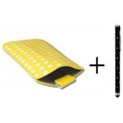 Polka Dot Hoesje voor Huawei Ascend P7 Mini met gratis Polka Dot Stylus, Geel, merk i12Cover