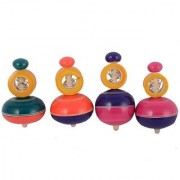 BuzyKart Multicolored Beautiful Wooden Wind Top Lattu Toy (Set Of 4)