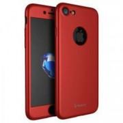 Husa Full Cover 360° fata + spate + geam sticla IPAKY pentru Apple iPhone 7 rosu