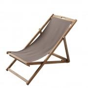 Maisons du Monde Chaise longue / sedia tortora a sdraio pieghevole in legno massello di acacia Panama