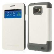 Кожен калъф с прозорец за Samsung Galaxy S2 i9100 - бял