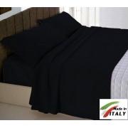 Parure Sacco Copripiumino Matrimoniale Made in Italy Percalle di Cotone NERO