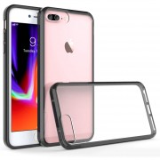 Funda Case Para Iphone 8 Plus / Iphone 7 Plus De Acrilico Transparente Con Contorno Suave - Negro