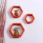 Onlineshoppee Fancy Set of 3 Hexagonal Shape MDF Wall Shelf Big Size ( 10.5 x 4x 10.5) inch Color- Orange