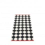 pappelina Marre Outdoor-Teppich – schwarz / vanille mit korallroter Kante 70 x 150cm
