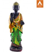 Archies Karana Mudra Multicolored polyresin decor standing Buddha showpiece with decorative garland
