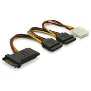 Kabel za SATA naponski kabel Y, SATA (f) na 3×SATA (m) + 1x Molex 4pin, 15cm (60106)