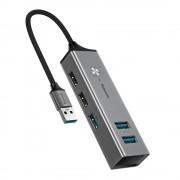 Baseus USB Cube Hub Adapter - алуминиев 5-портов USB хъб за компютри и лаптопи (тъмносив)