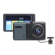 SAN_R Cámara táctil de 5 Pulgadas, grabadora de conducción, Delantera y Trasera, Lente Dual, 1080p, cámara de Coche de definición ultraalta y Gran Angular de 170 Grados ( Color : A )