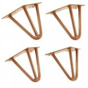 [en.casa]® Stylové stolové nohy 3 – sada noh (4 kusová) - 15 cm - bronzové