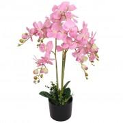 vidaXL Plantă artificială orhidee cu ghiveci, 75 cm, roz