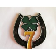 Resin Stained Glass Lucky #7 Horseshoe with Clover Suncatcher