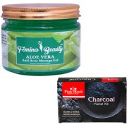 Femina Beauty Aloevera Gel 400gm with Pink Root Charcoal Facial Kit 83gm