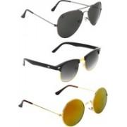 Zyaden Aviator, Round, Round Sunglasses(Black, Black, Multicolor)