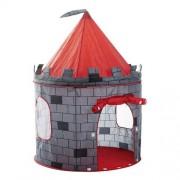 Cort de joaca pliabil tip castel pentru copii, cu usa si fereastra, 125x105cm, rosu/gri