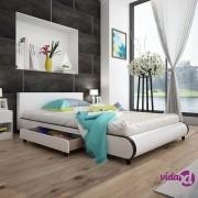 vidaXL Krevet 140 x 200 cm s 2 Ladice Umjetna Koža Bijela