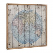 [art.work] Designový obraz na stěnu - hliníková deska - mapa světa - zarámovaný - 60x60x2,8 cm
