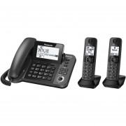 Telefono Fijo Panasonic Con Extensiones Inalámbricas KX-TGF382-Metalico Negro