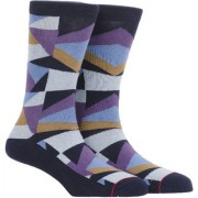 Soxytoes The Geometrics Blue Cotton Calf Length Pack of 1 Pair for Men Formal Socks (STS0021B)