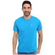 US Polo Assn Short Sleeve Solid V-Neck T-Shirt Teal Blue