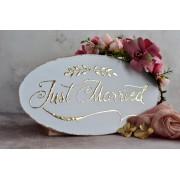 """Placuta ovala pentru nunta cu accente aurii """"Just Married"""""""