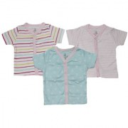 Krivi Kids Pink Color Set of 3 Front Open Half Sleeve Cotton Top For Baby Boys And Baby Girls .