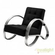 Fotoliu design modern si confortabil cu tesatura de culoarea neagra Domani 109103 HZ