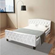 vidaXL Cadru de pat, piele artificială, 140 x 200 cm, alb