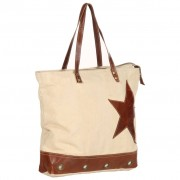 vidaXL Shopper Bag Beige 48x61 cm Canvas and Real Leather