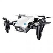 LINGYUN Mini Drone remoto plegable, Quadcopter de cámara WIFI FPV HD, Modo sin cabeza de altura fija, Volteo de 360 °, Control de la aplicación móvil de retorno con un botón, 10 minutos de tiempo de vuelo,White