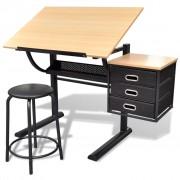 vidaXL Чертожна маса с три чекмеджета, регулируема височина и табуретка