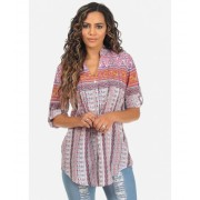 CheapChic Orange and Pink Long Sleeve Button Up Paisley Print Tunic Top Multicolor