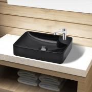 vidaXL Керамична мивка за баня с отвор за смесител, черна