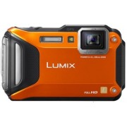 Aparat Foto Digital Panasonic Lumix DMC-FT5, 16.1 MP, Filmare Full HD, 4.6x Zoom Optic, Waterproof, WiFi, NFC (Portocaliu)