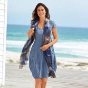 Seidencrash-Sommerkleid, 42 - Bleu