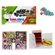 Sunny Toys COOK N SERVE stainless steel role play kitchen set with wooden rolling pin
