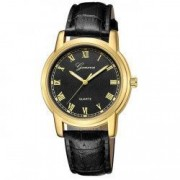 Ceas Geneva Unisex Quartz Casual Elegant Negru-gold PN999508NGD curea din piele afisaj Analog