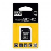 Memóriakártya, Micro SDHC, 8GB, Class 4, adapterrel, GOODRAM