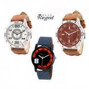 Mark Regal 2 Brown Leather Strap+1 Denim Leather Strap Men's Watches Combo Of 3